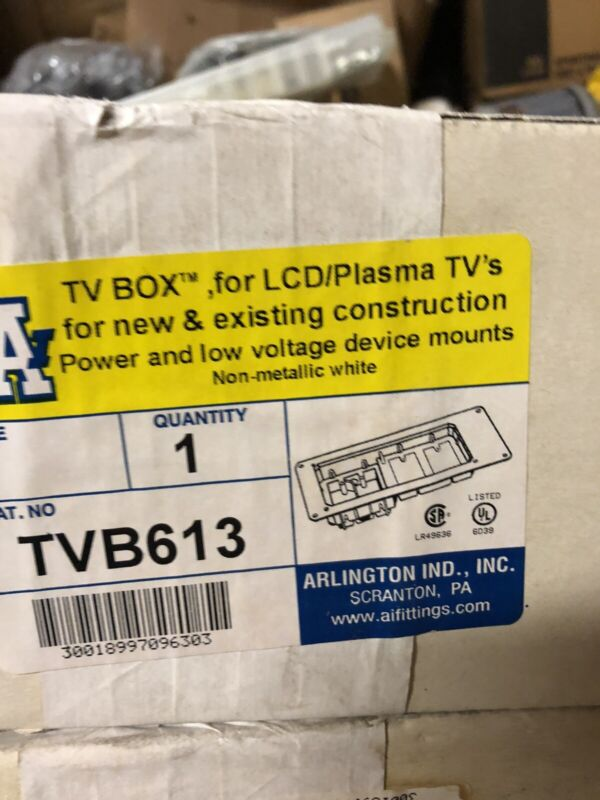 Arlington TVB613 Recessed TV Box, 4-Gang, White Trim Plate