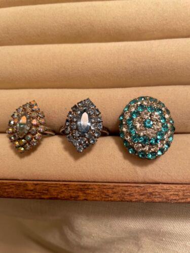 Three Vintage costume Jewelry Rings