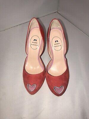 Hot MINNA PARIKKA 38 (8 US) Red Suede Patent Heart Peep Toe Heels Pumps- NWOB