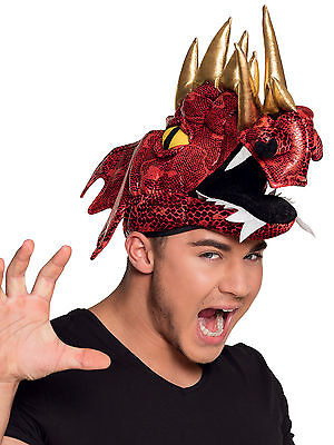 Red Dragon Costume Hat Adult Welsh Medieval Knights Dinosaur Rugby Fancy - Red Dinosaur Costume