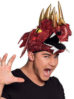 Roter Drache Kostüm Hut Erwachsene Walisisch Mittelalterlich Ritter ()