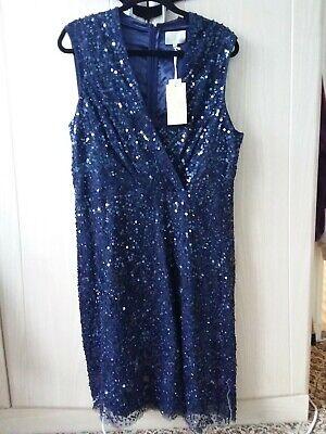 Gorgeous Jenny Packham designer dress Size 20 BNWT sequined midnight navy