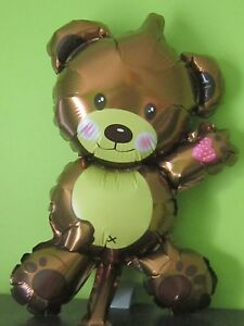 3 x Mini Foil Balloons Teddy Bear Children Toys Decoration Birthday&Party brown