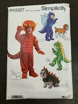 Simplicity 0860 Dinosaur Costume Unisex Child Matching Dog Outfit Size 3-8 Uncut