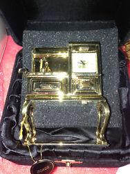 Bulova Miniature Antique Stove  #B0422 Mini-Boutique Collectible Bulova Clock.