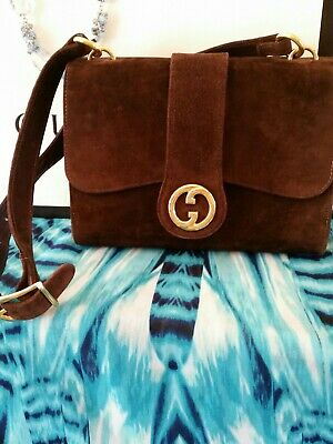 TOM FORD Vintage Gucci Made in Italy Espresso Suede Gold GG Logo GORGEOUS!