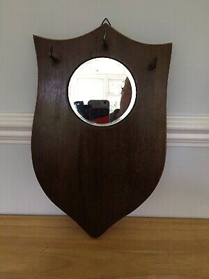 "Antique Shield Shaped Wood Hall Mirror 13.5"" Tall"