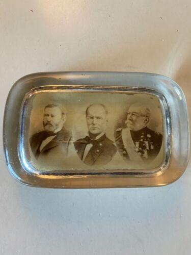 early Civil War Generals Grant, Sherman and Sheridan photo paperweight
