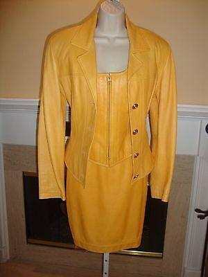 STUNNING, SUPER RARE NEW 3 PIECE ANNE KLEIN LEATHER SKIRT, VEST & JACKET SUIT   3 Piece Leather Skirt
