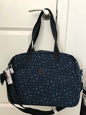 NWT- Kipling Popper Printed Diaper Bag with Changing Pad- Monkey Mania Blue