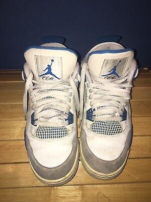Nike Air Jordan 4 Retro Flight White/Military Blue-Ntrl Grey.  Men's Size