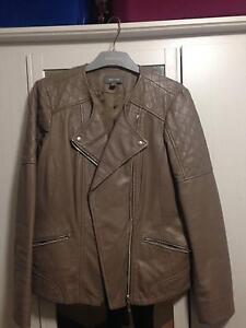 Leather Jacket, beige size 8 Joondanna Stirling Area Preview