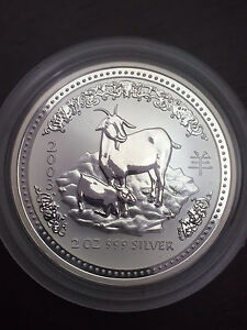 2003 Year of the Goat 2 Oz Silver Coin