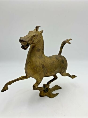 Vintage Bronze FLYING HORSE Sculpture Gilt Gold East Han Dynasty Gansu