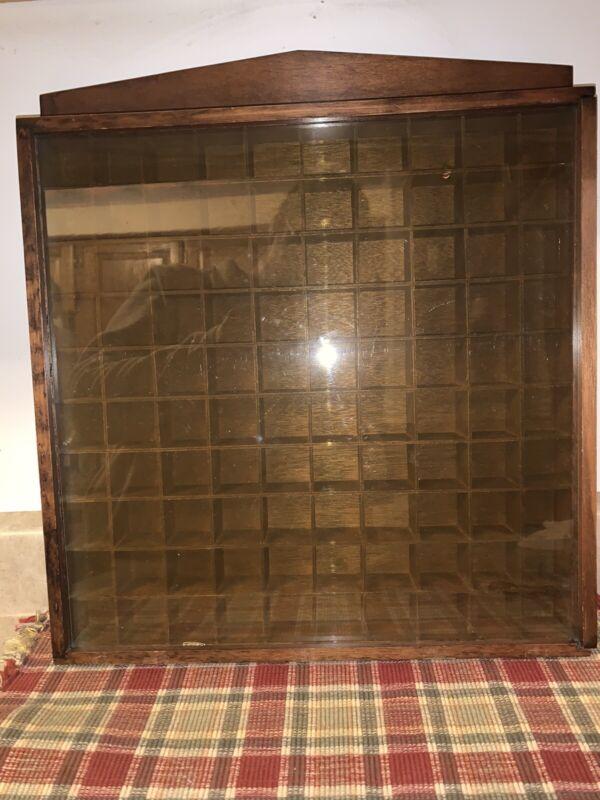Vintage MSR Imports Inc. Wood 100 Slot thimble Trinket display case W/Plexiglass