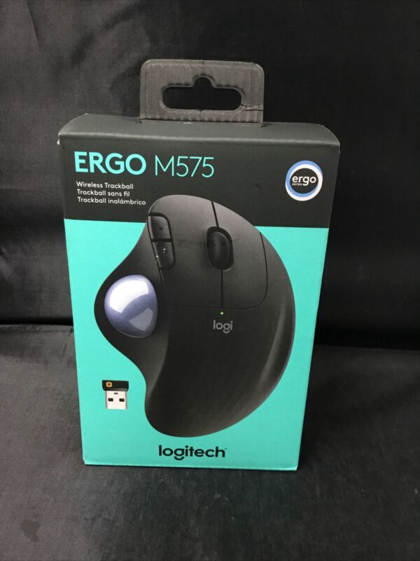 Authentic Logitech Ergo M575 Wireless Bluetooth Trackball Mouse (BLACK) NEW