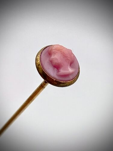 Antique Hatpin Soft Sweet Pink Cameo. Petite Lady. Delicate Touch.  Collectible
