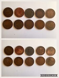 Lot of 10pcs. 1902 to 1919 Antique Canadian Large Pennies