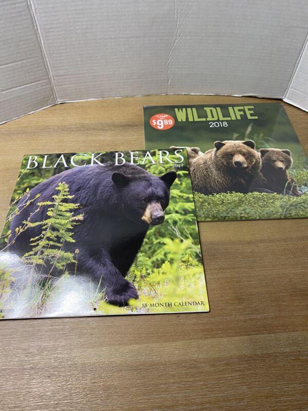 Set of 2 Wildlife Black Bear Calendars 2019 Willow Creek 2018 Carousel
