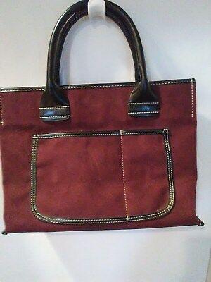 Saks Fifth Avenue Medium Size Faux Suede Tote Bag in Burgundy EUC