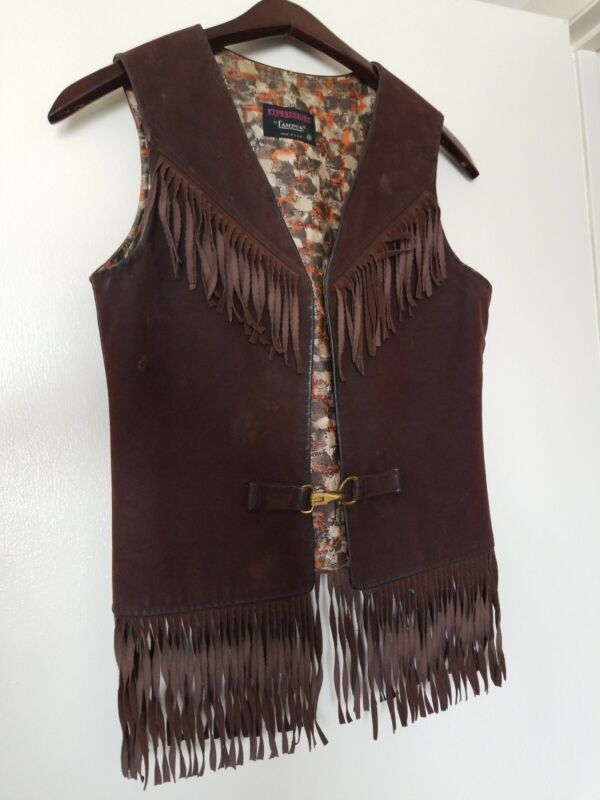 Vintage Brown Suede Leather Vest with Fringe Boho - Girls Size 16 Expressions