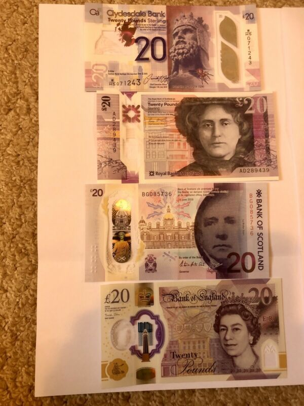 Set of 4 British Polymer £20.00 Banknotes, New, Uncirculated