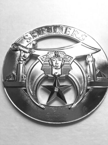 Masonic  Metal Chrome Shriners Auto Car Emblem
