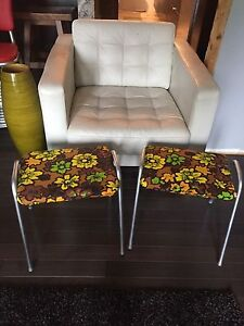 Vintage Retro reupholstered Stacking Stools