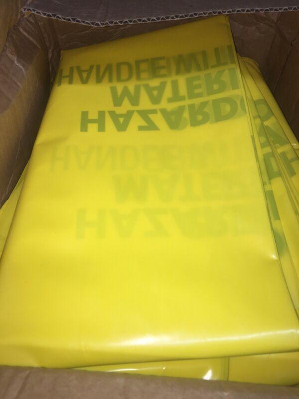 17-912 Hazardous Waste Bags,30 gal. Polyethylene, Yellow, Hazardous Material 24