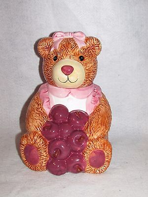 Pink Cookie Jar (VINTAGE GIRL TEDDY BEAR COOKIE JAR WITH A PINK BOW AND APRON HOLDING APPLES)