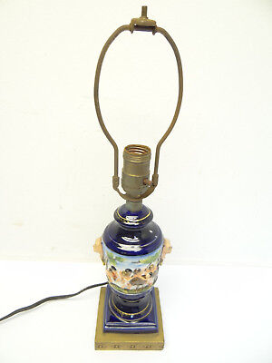 Vintage Italian Cherub Decorative Blue Gold Painted Small Table Lamp Light