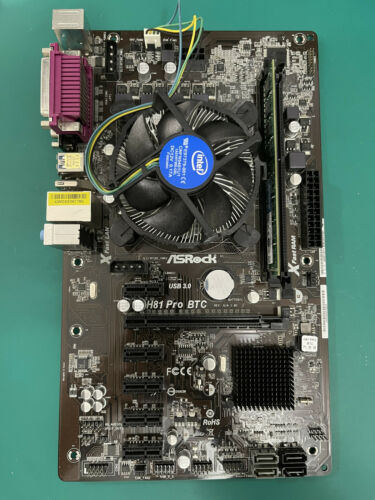 Asrock H81 Pro BTC Motherboard with CPU & RAM - For GPU Mining