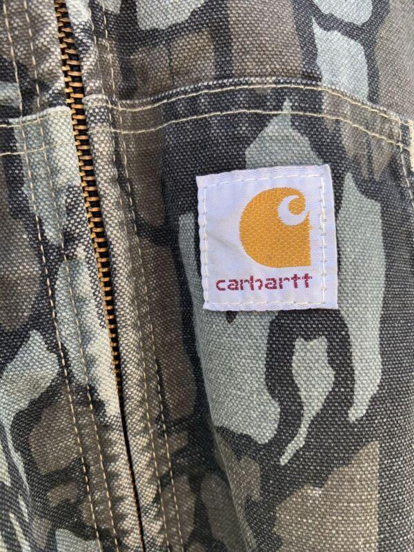 Rare Vintage CARHARTT Trebark Hunting Camo Canvas Coat Jacket 80s 90s