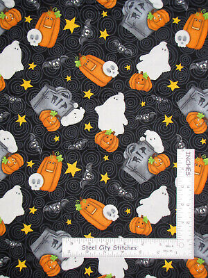 Tombstone Costumes (Halloween Ghost Pumpkin Tombstone Cotton Fabric HG&Co Chills Thrills By The)