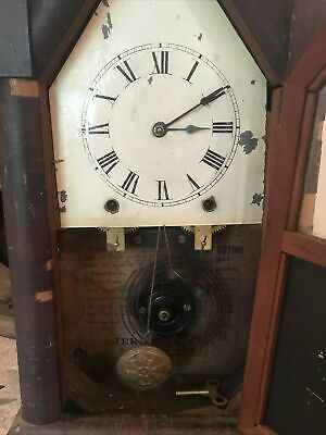 Antique Jerome & Co New Hampton USA Rosewood Mantle Steeple hour chime