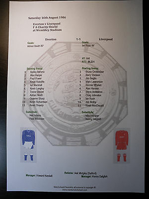 1986 FA Charity Shield Everton v Liverpool Matchsheet