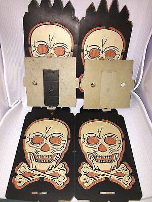 2 vintage Halloween skull lantern crossbones diecut cardboard crepe paper prop