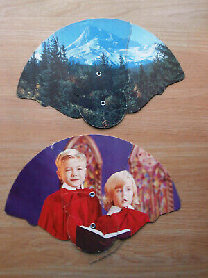 Lot of 2 Vintage Funeral Home Promotional Advertising Fans