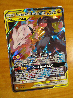 NM Pokemon RESHIRAM & ZEKROM GX Card COSMIC ECLIPSE Set 157/236 SM Rare Tag Team