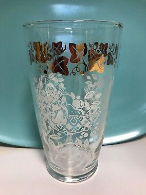 """Vtg 7"""" Cocktail Mixer Glass White Fruit Basket Gold Ivy Leaf Trim Martini Shaker - Ivy Leaf Trim"""