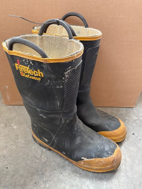 Vintage Firetech LaCrosse Firefighter Boots Size Men's 11-1/2 Medium Steel Toe
