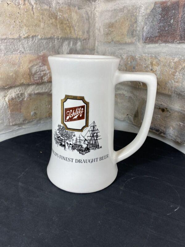 VINTAGE SCHLITZ BEER GLASS STEIN MUG CERAMIC WORLDS FINEST DRAUGHT BEER CERAMIC