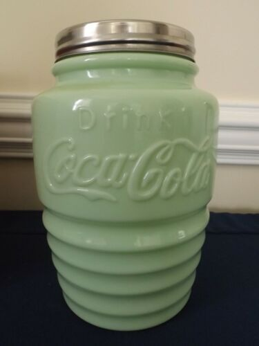 COCA COLA COOKIE JAR METAL LID JADEITE GREEN MILK GLASS CANISTER