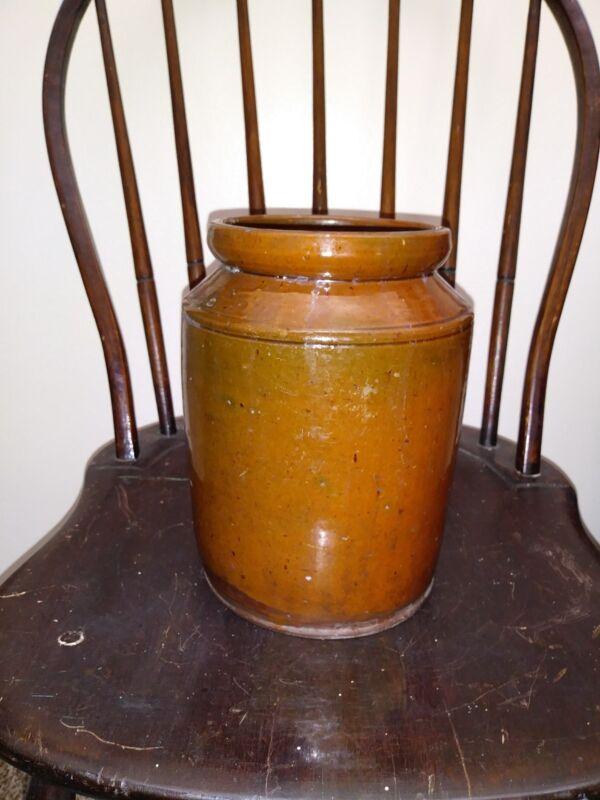 19th Century Redware Pottery Preserves Jar