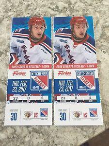 Kitchener Ranger Tickets  Thursday February 23