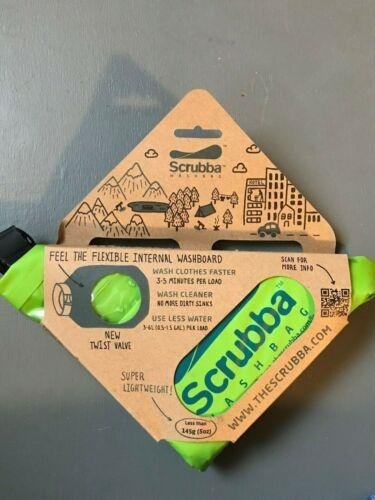 New SCRUBBA Lightweight Washbag Washboard Travel Hiking Camping Green 5 oz Size!