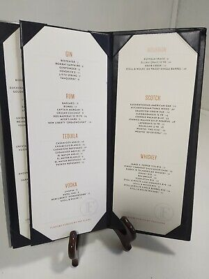 33 Restaurant Menu Holders Leather Metal Bound Covers Book Style 6 View