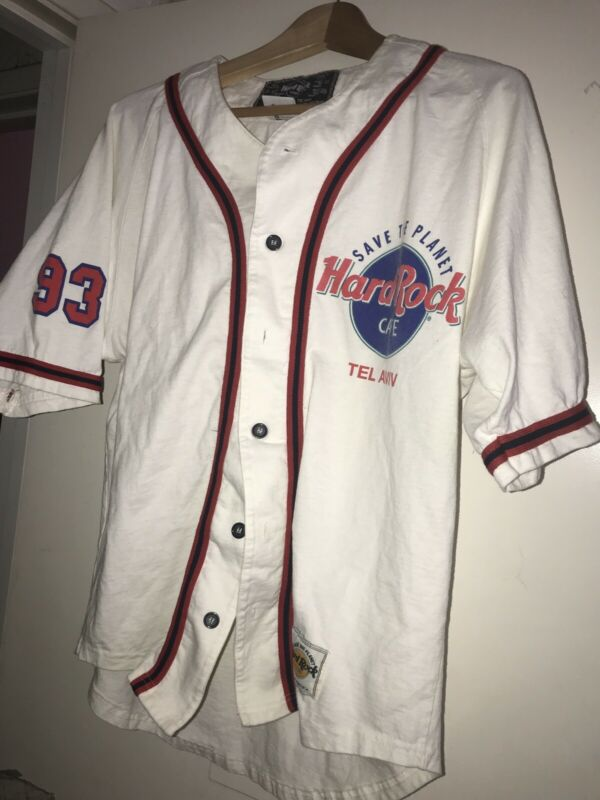 Vintage Hard Rock Cafe Tel-Aviv Pro Cut Baseball Jersey Israel Team USA Made SZS