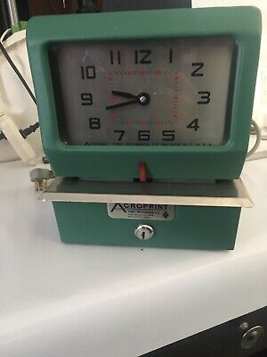 Acroprint Time Clock 125ar3 Heavy Duty Manual Time Recorder Green Punch