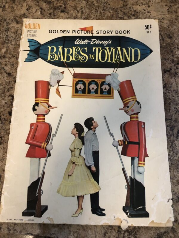 Walt Disney Book Babes in Toyland Golden Pictures Story Book 10x14 1961